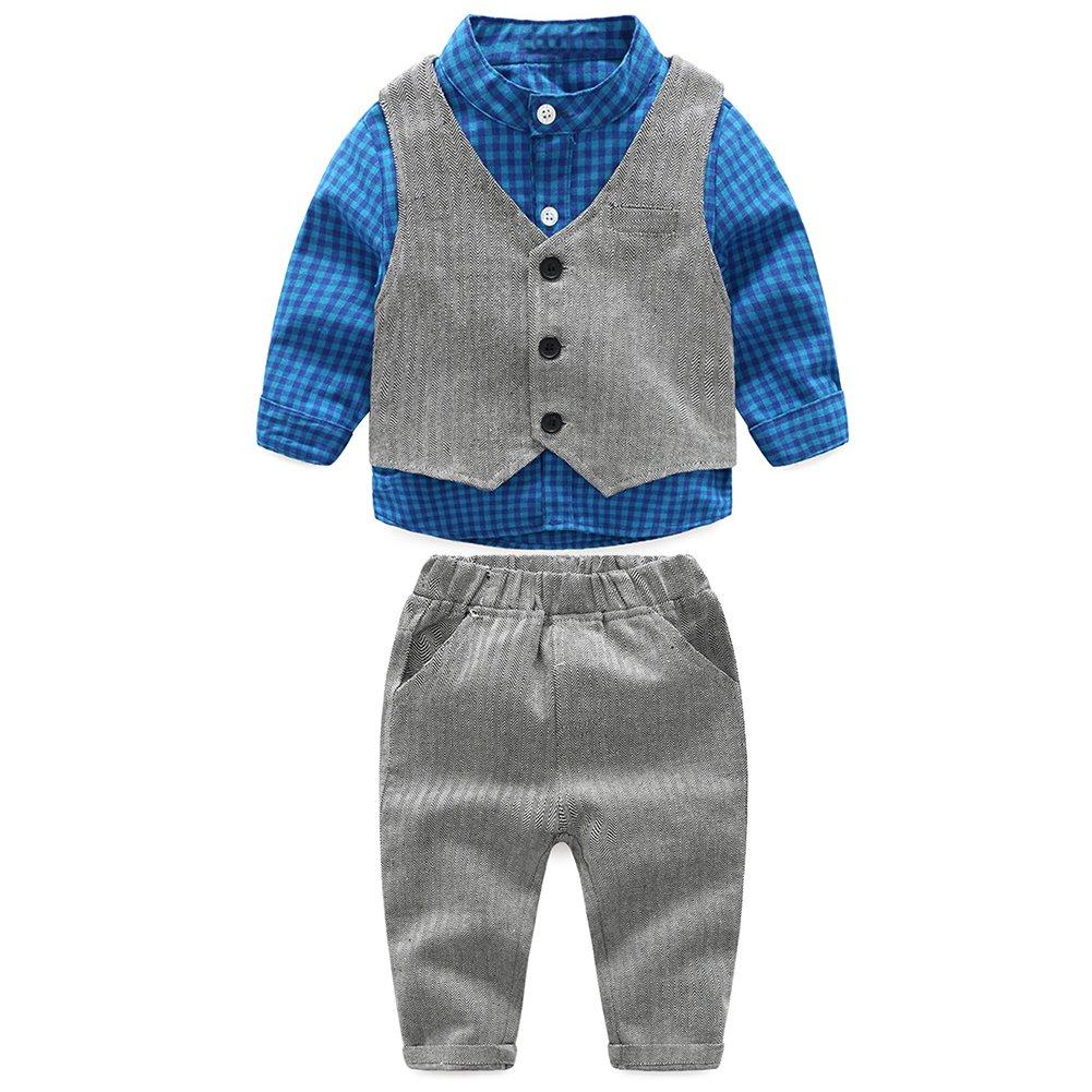 Demiawaking 3pcs Kleinkind scherzt Jungen Gentleman Ausstattungs langes Hülsen Hemd Weste Hose Kleidung Set Blau) 130660