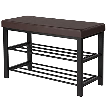 Amazoncom Songmics Shoe Bench 3 Tier Shoe Rack For Entryway