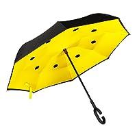 Paraguas Invertido. Paraguas Inverso Original Reversible de Colores de Mujer y Hombre Antiviento para Coche, Grande Abre y Cierra al revés Asa Suave C Bolsa GOLDEN LEMUR