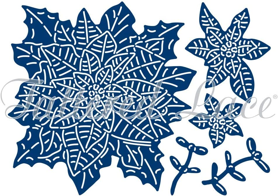 New Tattered Lace 3D Decoupage Ruby Poinsettia Cutting Die Set 477252