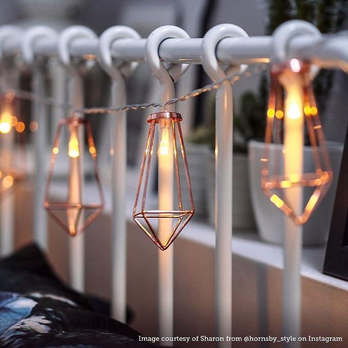 Festive Lights - Guirnalda luminosa, con 10 minilinternas LED de color blanco cálido, diseño de estilo industrial, 1,80 m, funciona a pilas: Amazon.es: ...