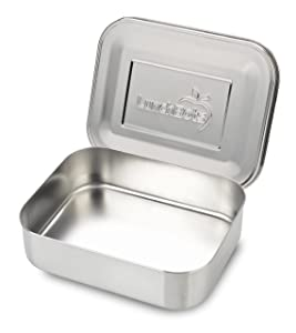 LunchBots Medium Uno Stainless Steel Sandwich Container - Open Design for Wraps - Salads or a Small Meal - Eco-Friendly - Dishwasher Safe and BPA-Free - All Stainless