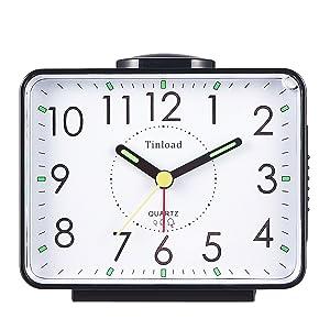 "Tinload 4"" Loud Crescendo Bell Alarm Clock Silent No Ticking,Snooze,Nightlight,Battery Operated,Easy Set(Black)"
