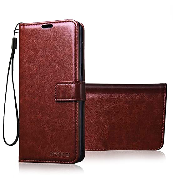 buy popular 7ae37 0b33f Bracevor iPhone 5 5s SE Wallet Leather Stand Case Flip Cover - Executive  Brown