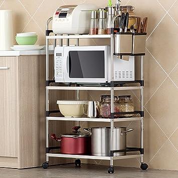 Estanterías de cocina WSSF Multifunción Soporte para microondas Estante para Horno de microondas Cocina de Acero Inoxidable Estantes de Almacenamiento ...