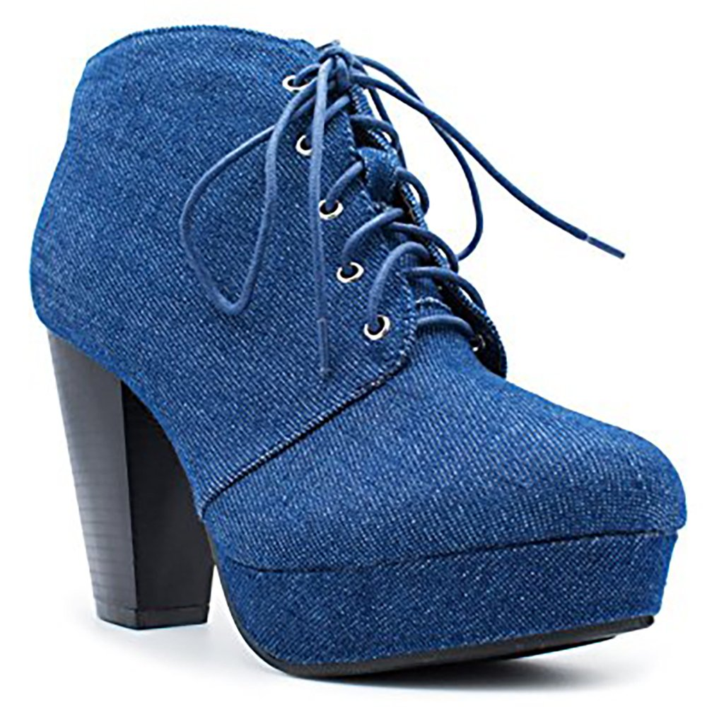 Forever Camille-86 Women's Comfort Stacked Chunky Heel Lace Up Ankle Booties ALT-CAMILLE-86