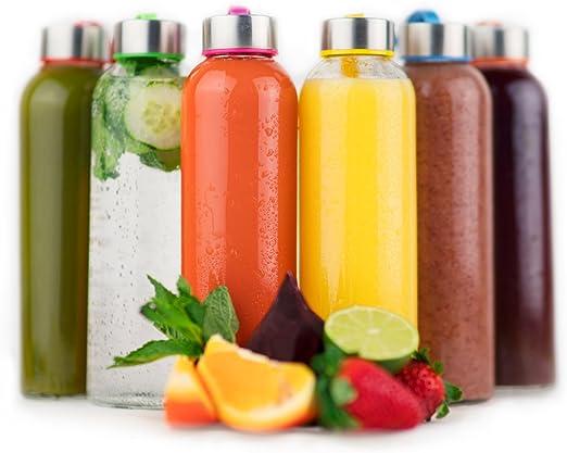 Amazon.com: Vremi Botellas de vidrio para agua de 18 onzas ...