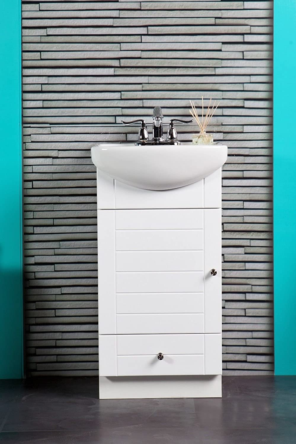 SMALL BATHROOM VANITY CABINET AND SINK WHITE   PE1612W NEW PETITE VANITY      Amazon.com