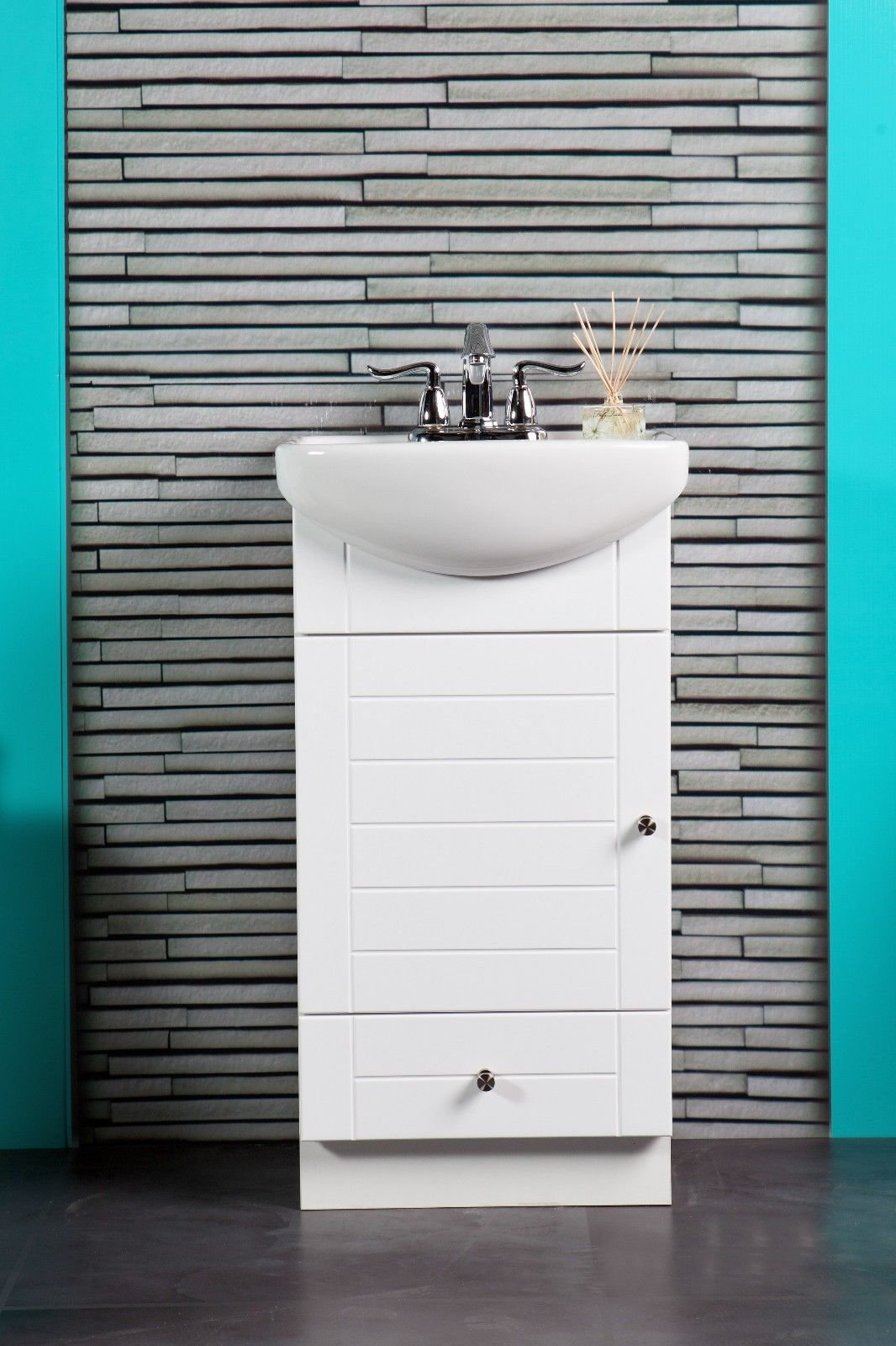 SMALL BATHROOM VANITY CABINET AND SINK WHITE - PE1612W NEW PETITE VANITY by Fine Fixtures