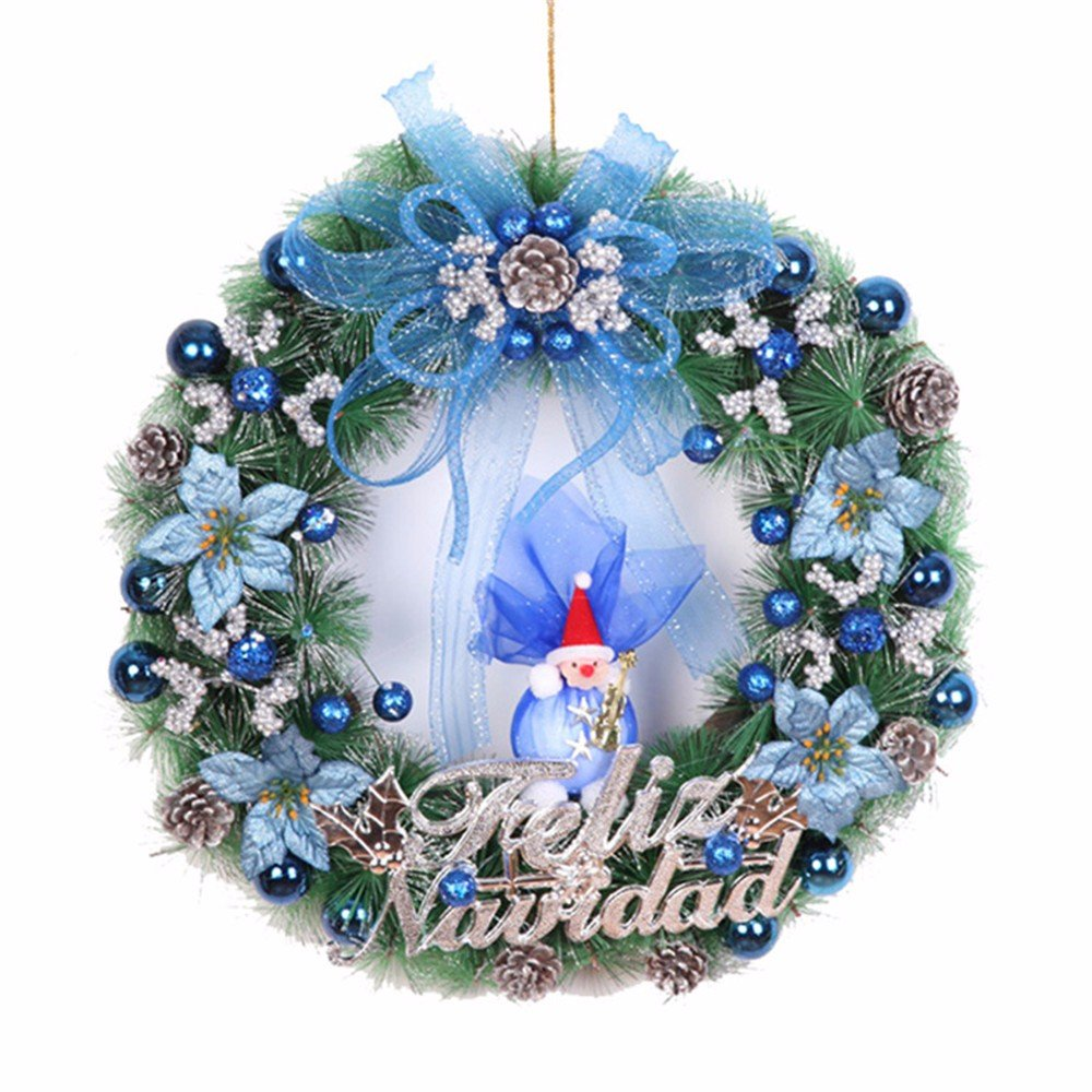 Christmas decorations Christmas scene pendant 50cm pine needles rosette Christmas tree decoration,Blue