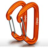 HangTight Wiregate Carabiner (Set Of 2) - Mini Aluminum Lightweight Biners - Best For Hammock Suspension, Clipping On Camping Accessories, Keychains, And More. Anodized Orange