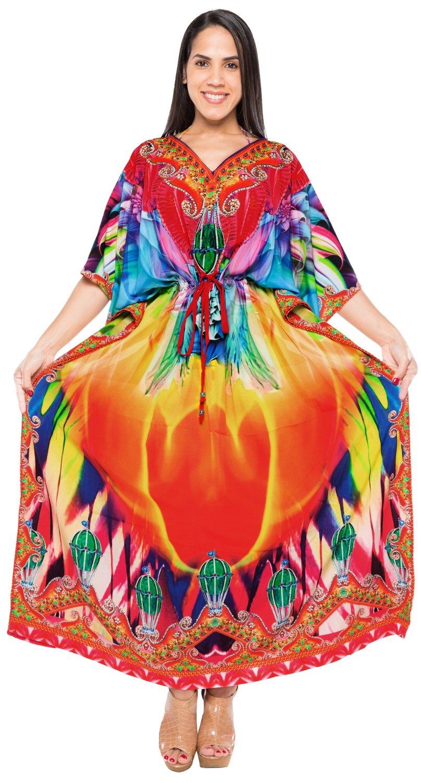 LA LEELA Soft  Digital Long Caftan Cover Up Beachwear Multi 195 One Size