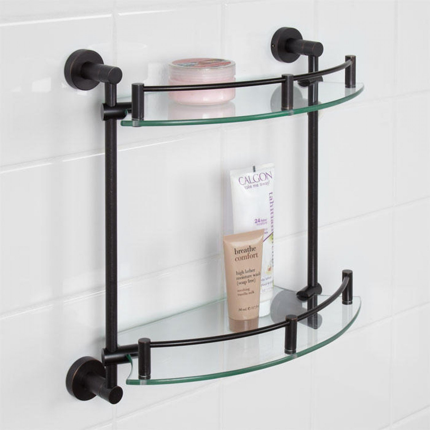 Naiture Tempered Glass Shelf - Two Shelves in Oil Rubbed Bronze Finish