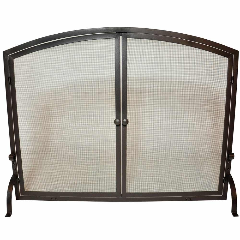 amazon com uniflame single panel iron fireplace screen with doors