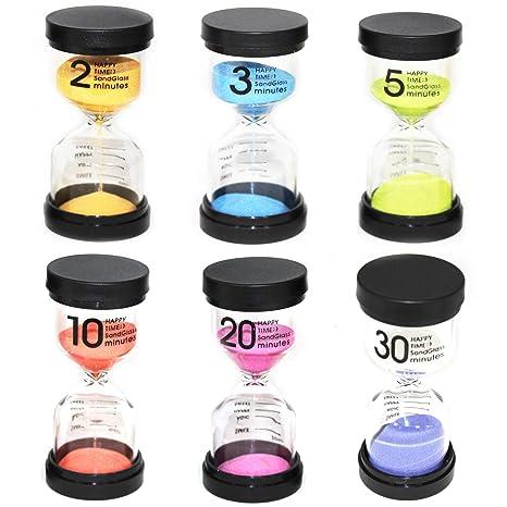 Moji Toys Paquete de 6 Diferentes Relojes de Arena - con Varios Tiempos - 6 Colores