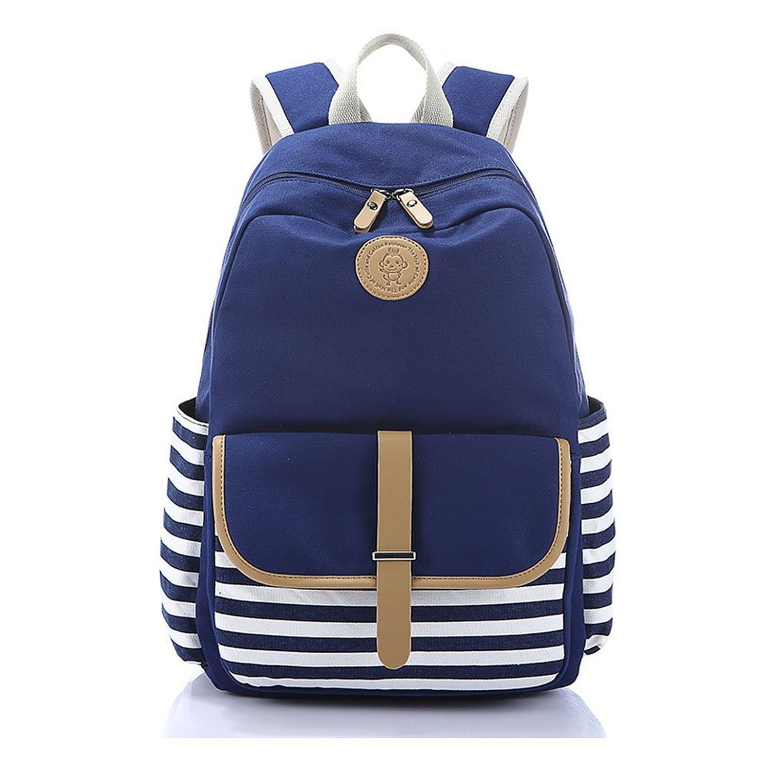 Abshoo Causal Travel Canvas Rucksack Backpacks for Girls School Bookbags (Navy)