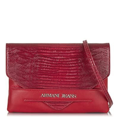 5ad67893ee4c Armani Jeans Red Serena Reptile Clutch Bag Red Reptile  Amazon.co.uk ...