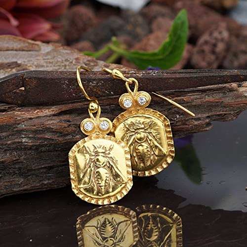 4270982c802e8a Image Unavailable. Image not available for. Color: Bee Coin Handmade Design  Hook Earrings 925 Sterling Silver Fine Jewelry ...