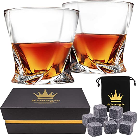 Almagic Whiskey Glass Set of 2 Lead Free Crystal Old Fashioned Glass 10oz for Scotch or Bourbon Gift Boxed (Free 9 Granite Chilling Whiskey Stones + Velvet Bag)