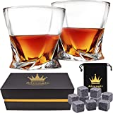 Almagic Whiskey Glass Set of 2 Lead Free Crystal Old Fashioned Glass 10oz for Scotch or Bourbon (With 9 Granite Chilling…