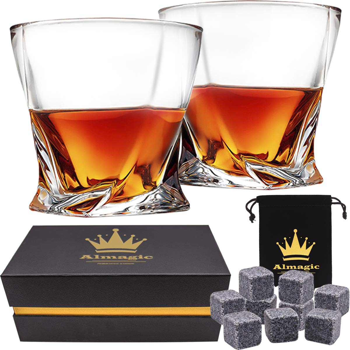 Almagic Whiskey Glass Set of 2 Lead Free Crystal Old Fashioned Glass 10oz for Scotch or Bourbon Gift Boxed (Free 9 Granite Chilling Whiskey Stones + Velvet Bag) by Almagic