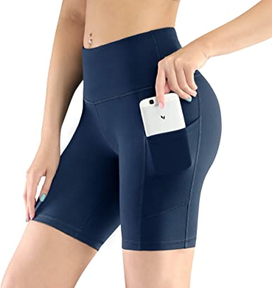 Baleaf Womens Yoga Workout Running Shorts with Side Pockets Non See-Through Yoga Shorts
