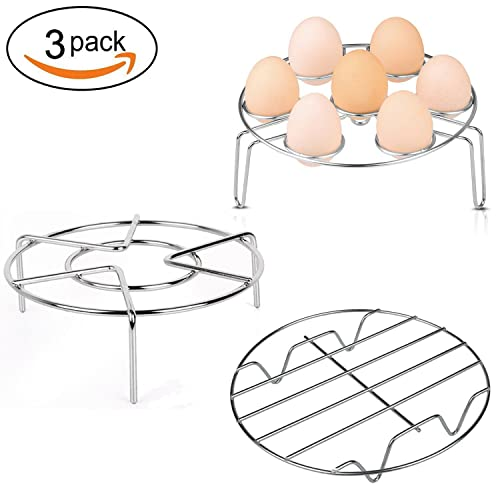 Aupolo Steamer Rack, Stainless Steel Steaming Rack For Instant Pot Egg Steam Rack Stand Cooking Food Holder Air Fryer Accessory For Pressure Cooker,Set of 3