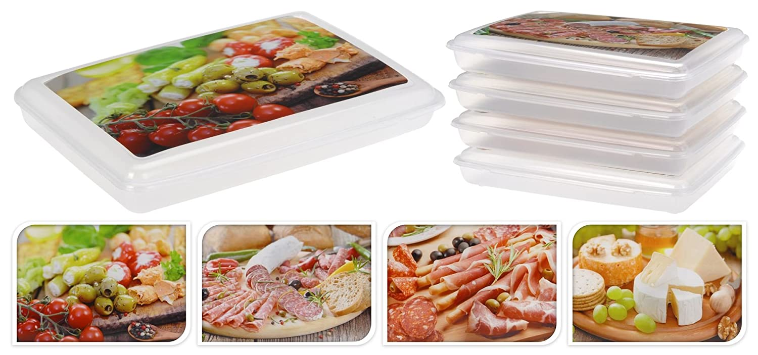 Set Of 4 Food Plastic Storage Box Containers Cheese Meat Vegetable Fruit  Snacks: Amazon.co.uk: Kitchen U0026 Home