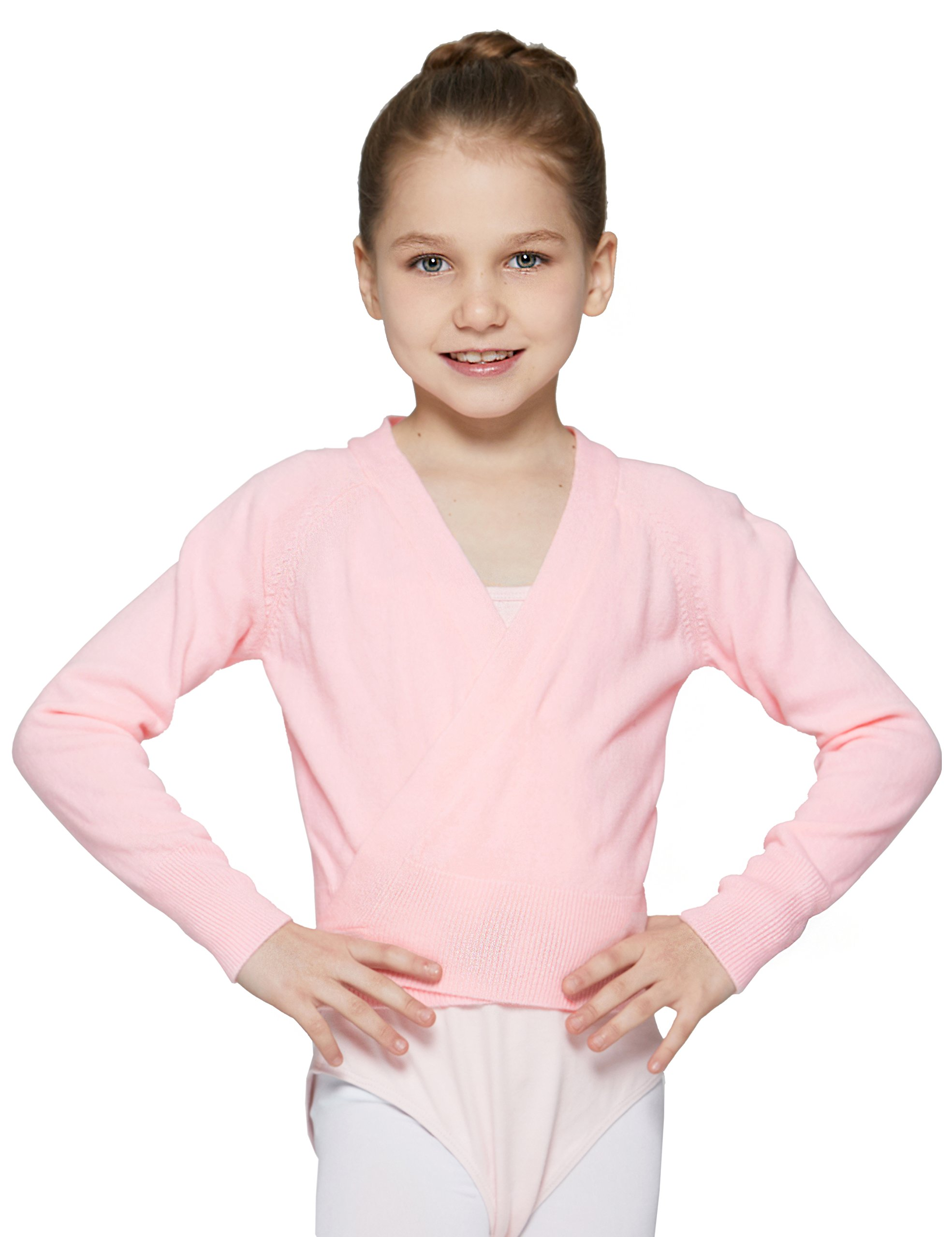 Knit Wrap Sweater for Girls by Mdnmd, Medium, Pink