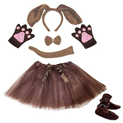 Petitebella Dog Headband Bowtie Tail Glove Shoes Tutu Girl 6pc Costume (One Size, Brown Dog): Clothing