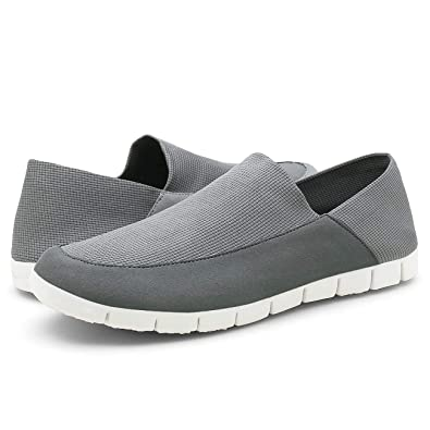 0363798db57 QLEYO Men s Slip on Shoes Lightweight Loafers Men s Casual Canvas Shoes for  Driving Walking Outdoor LRX001