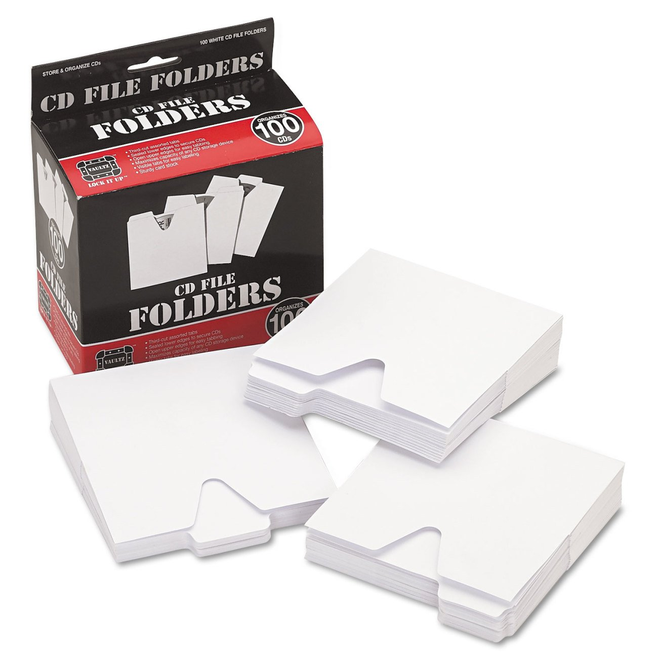 Vaultz CD Storage File Folders, 100 Folders per Box, White (VZ01096)