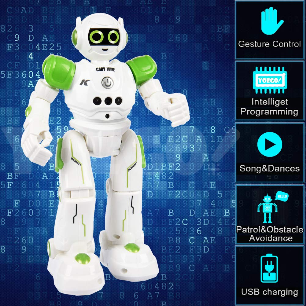 Yoego Remote Control Robot, Gesture Control Robot Toy for Kids, Smart Robot with Learning Music Programmable Walking Dancing Singing, Rechargeable Gesture Sensing Rc Robot Kit (Green) by Yoego (Image #2)
