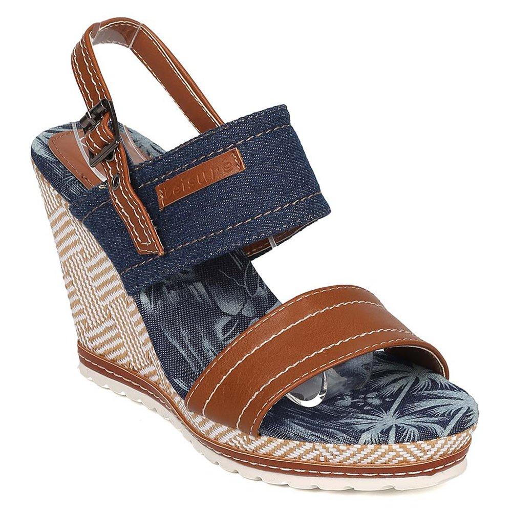 Nature Breeze Women's Denim High Platform Summer Wedge Sandals B06XSZ1576 7 M US|Blue-01