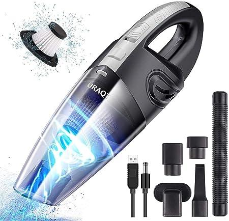 URAQT Aspiradora de Mano, 120W Aspirador Mano Sin Cable Potente, Carga rápida USB Aspiradoras en Seco y Húmedo, Batería de 2200mAh,Filtro Lavable, Accesorio Completo para Oficina, Hogar, Coche: Amazon.es: Hogar