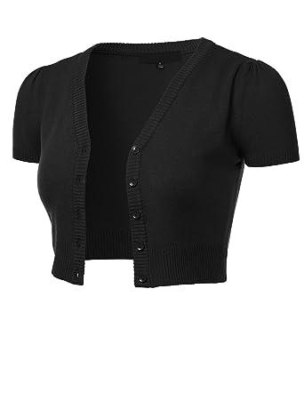 fdb84202425872 FLORIA Womens Button Down Short Sleeve Cropped Bolero Cardigan Sweater  Black S