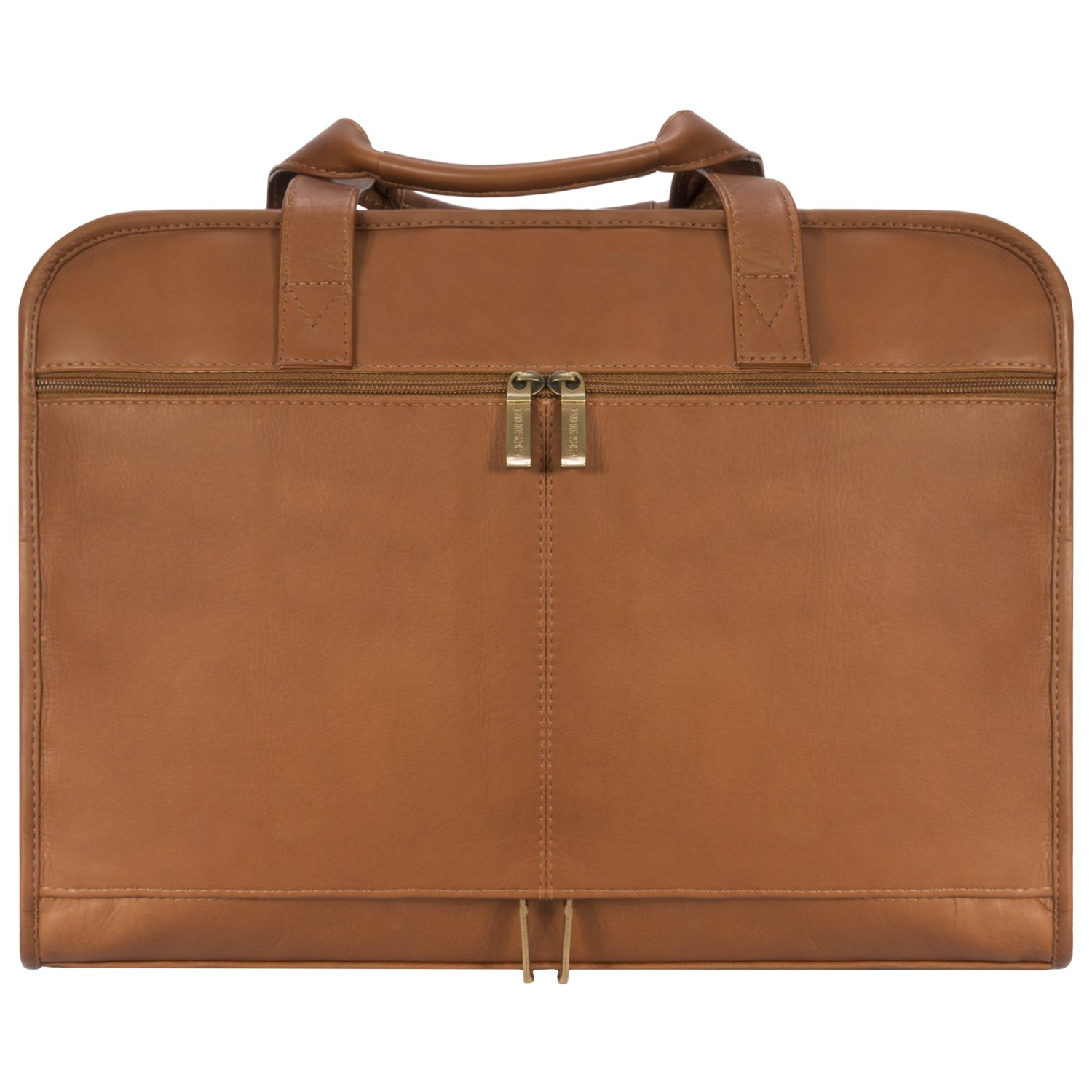Muiska Leather Top-Zip 17 Inch Laptop Briefcase, Saddle, One Size by Muiska (Image #3)