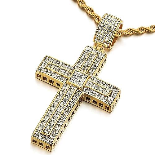 COOLSTEELANDBEYOND Grande Oro Colgante de Cruz con Zirconia Cúbica, Collar de Hombre Mujer, Acero Inoxidable, Cadena Cuerda 75CM
