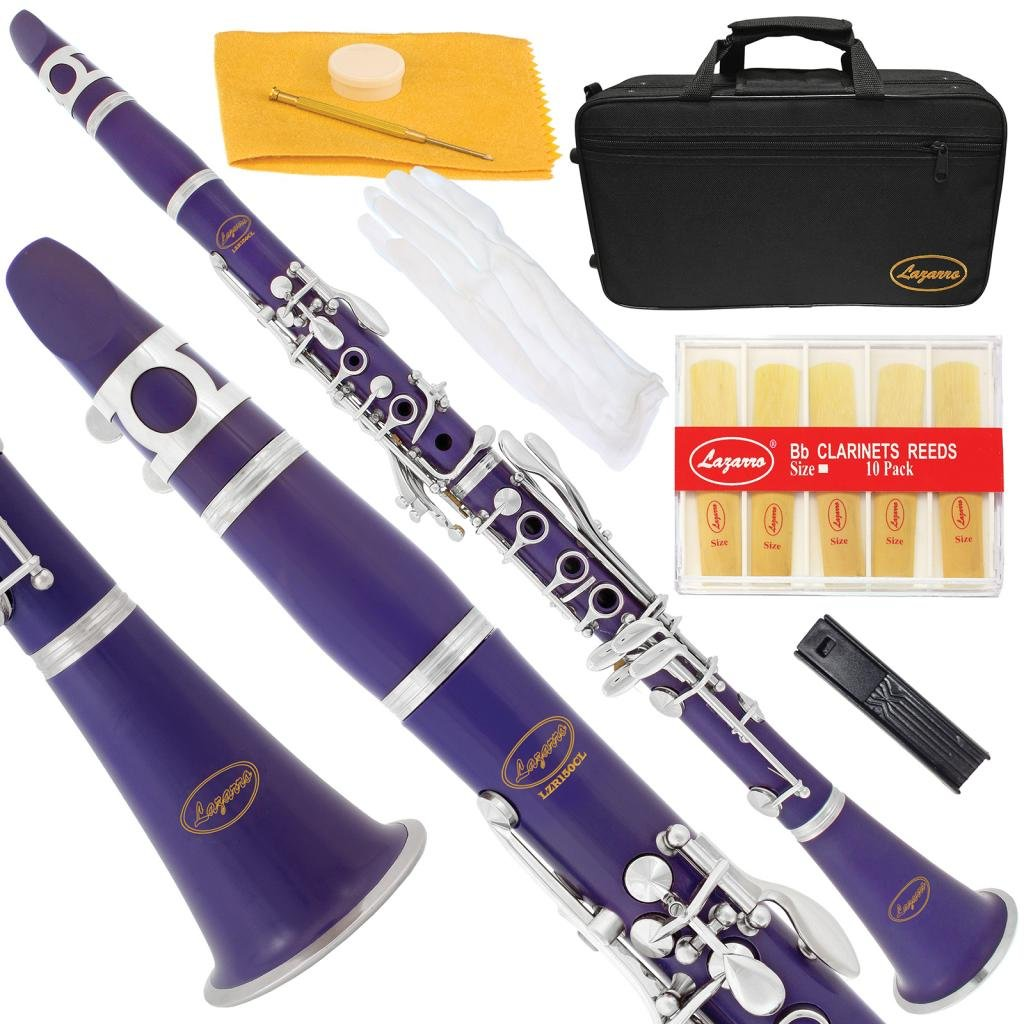 150-BK-L - BLACK Ebonite/SILVER Keys Bb B flat Clarinet Lazarro+11 Reeds, Case, Care Kit~24 COLORS Available, CLICK on LISTING to SEE All Colors