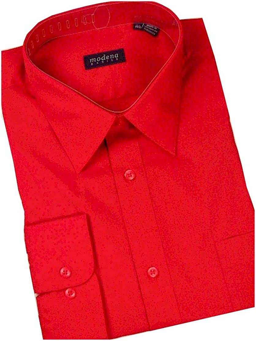 All Sizes Colors Fit Long Sleeve Solid Dress Shirt Slim Modena Men/'s Regular /& Contemporary