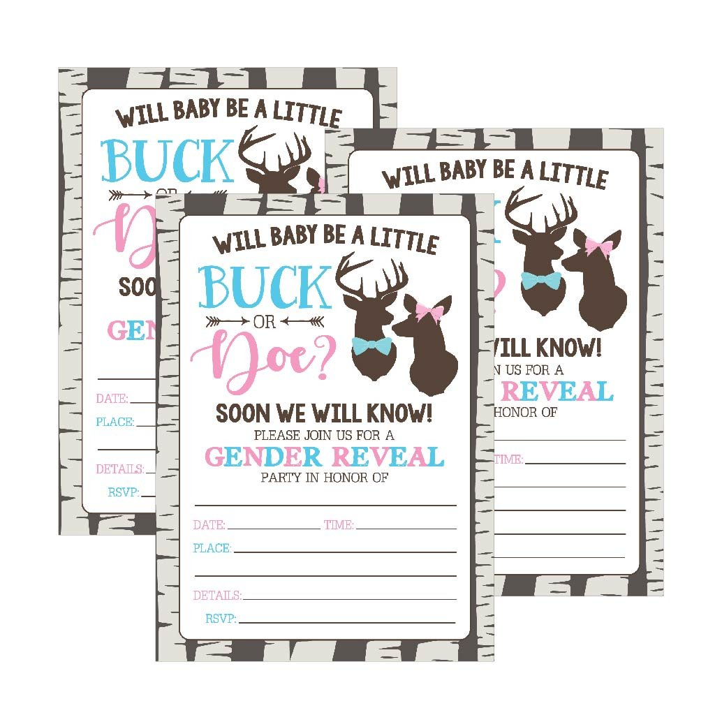 25 Buck or Doe Deer Gender Reveal Baby Shower Party Invitation Cards, Pink Blue He She Personalized For Gender Neutral Unisex Invite Guess If It's a Boy or Girl Fill In The Blank Printable Invite Pack by Hadley Designs