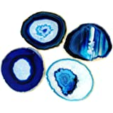 Pantrasamia Agate Coaster Cup Mat Natural Sliced Agate Beverage Coasters for Drinks Gift Set of 4 Plates (3-3.5 Inch, Blue)