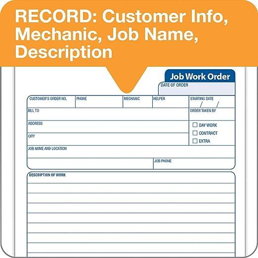 Amazon.com : TOPS 2-Part Carbon Job Work Order Forms, 5.5 x 8.38 ...