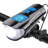 Luz Bicicleta USB Recargable, Velocímetro de bicicleta con pantalla digital, Odómetro Luces delanteras, Linterna de bicicleta