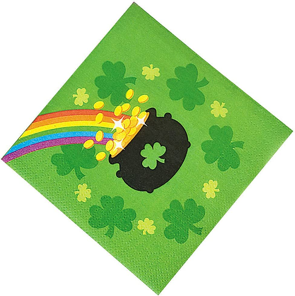 Fun Express - St Pat's Rainbow Bev Napkins for St. Patrick's Day - Party Supplies - Print Tableware - Print Napkins - St. Patrick's Day - 16 Pieces