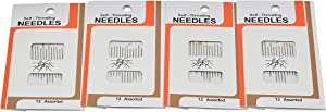 Home-X Self-Threading Needles. Set of 48 (4 Packages of 12)