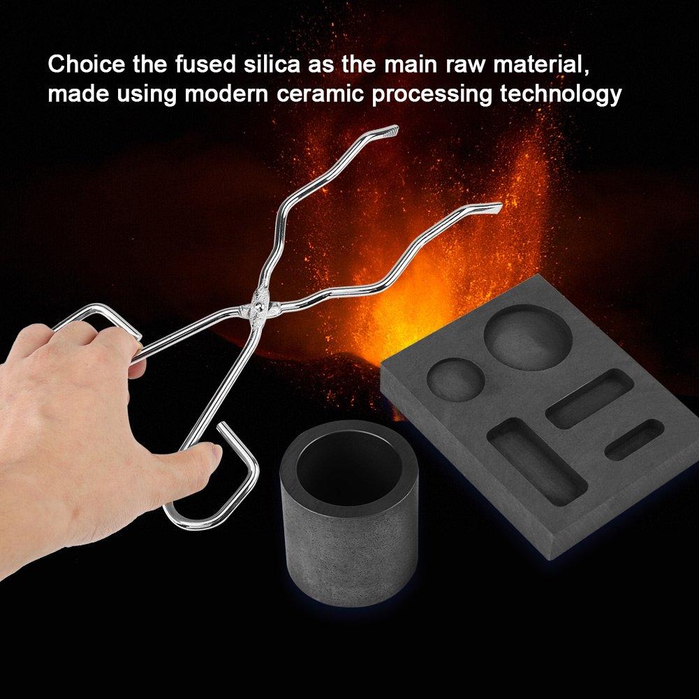 Crucible Tongs Square Graphite and Quartz Melting Crucible Set 4 Pcs Torch Melting Silver Graphite Crucible Kit Cylindrical Graphite