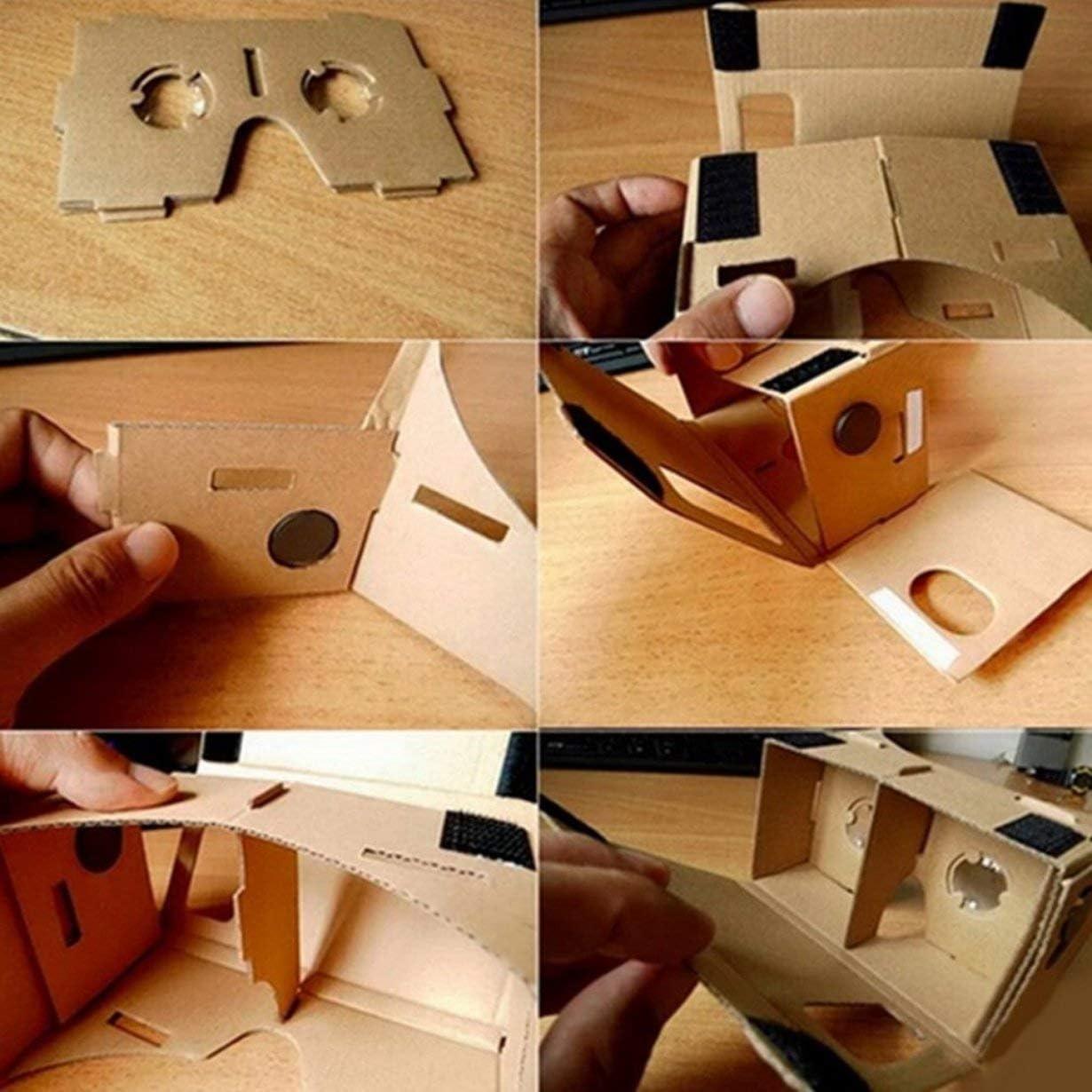 Ulter Klar DIY Karton 3D-VR Virtual Reality-Brille f/ür Smartphone Qualit/äts-DIY Magnet Google Pappen Glasses khaki