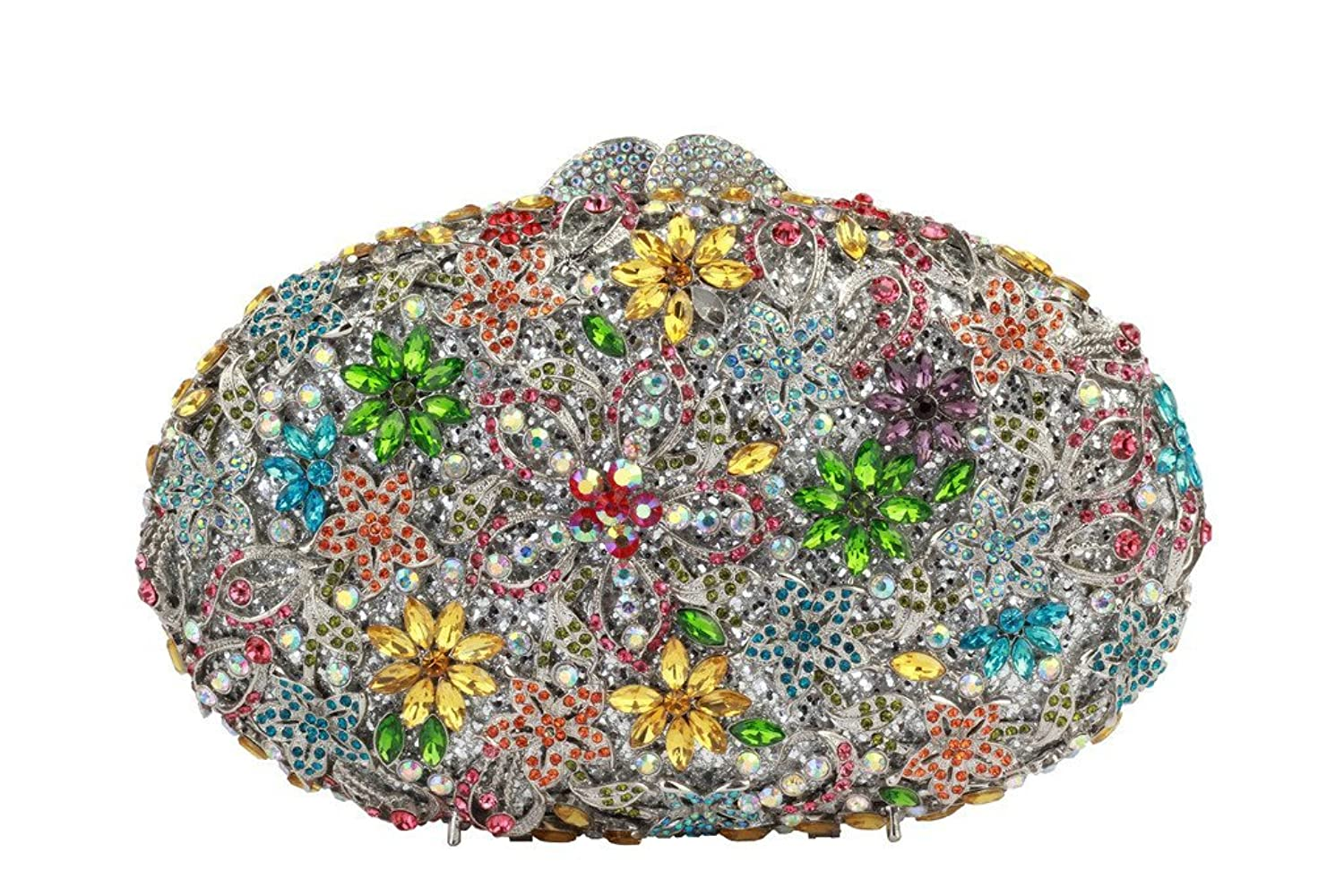 Yilongsheng Women's Oval Clutch Bags with Bright-colored Floral Crystal Rhinestones(Multicolor)