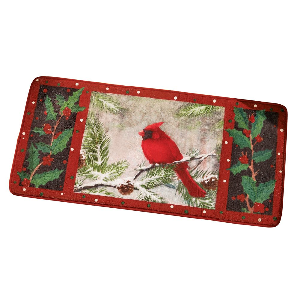 Collections Etc Winter Cardinal Kitchen Floor Mat